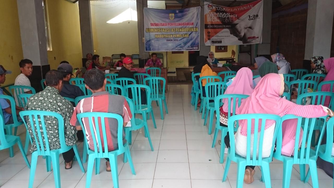 Sosialisasi Administrasi Kependudukan Oleh Disdukcapil Pemalang di Balai Desa Rembul
